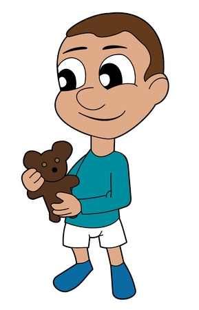 Illustration of small toddler boy holding a teddy bear, isolated on a white background Stock Vector - 21396443