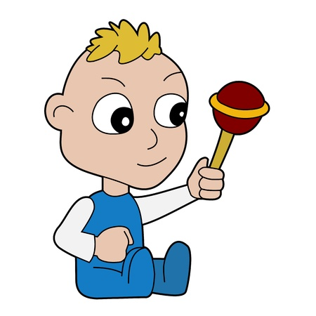 baby playing toy: Illustration of small baby boy playing with a toy, isolated on a white background Illustration