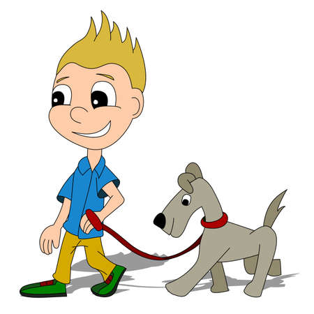 Illustration of a little boy walking out his dog, isolated on a white background Vector