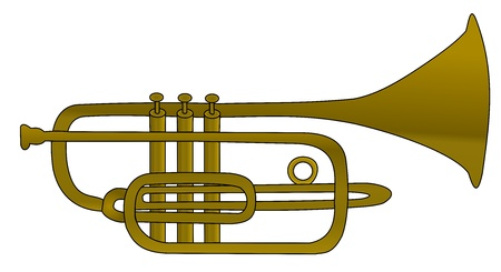 Illustration of brass instrument - trumpet Stock Photo