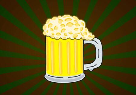 Illustration of beer on starburst background Stock Photo
