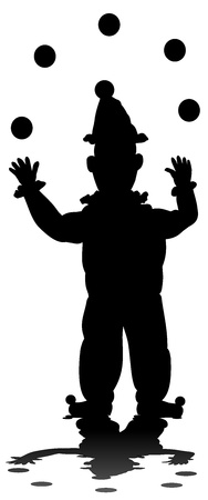 Silhouette of a clown juggler, isolated on a white background Stock Photo