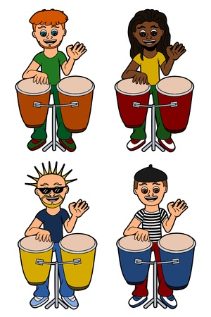percussionist: Men percussionists from different countries playing congas, isolated on a white background Illustration