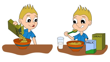 Illustration set of a child having a glass of milk and a bowl of cereals for a breakfast, isolated on a white background