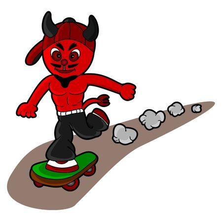 Illustration of devil skateboarder isolated on a white background
