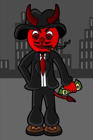 kingpin: Illustration of smoking mafian devil Illustration