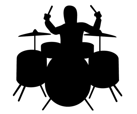 Silhouette of drummer playing the drum kit Illusztráció