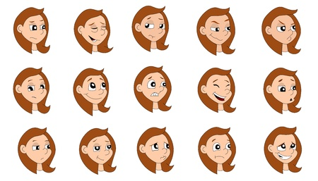 Illustration set of a girl making various expressions, isolated on a white background