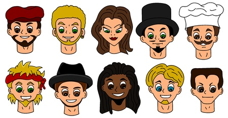Illustrations of different people heads