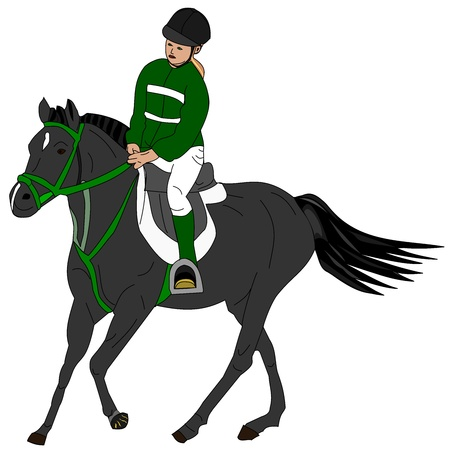 Illustration of a girl riding the pony