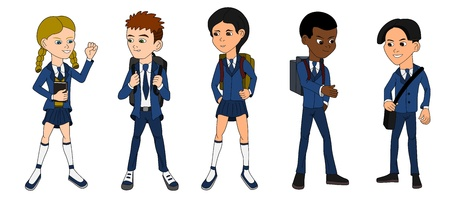 Collection of multiracial school kids on a white background