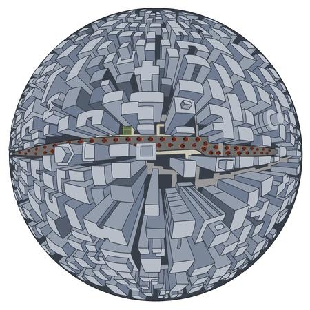 science fiction: Science fiction illustratie van de stad van de toekomst, planeet in vijf-punts perspectief, geïsoleerd op een witte achtergrond