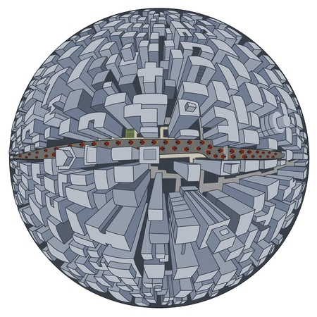 science fiction: Science fiction illustration of city of future, planet in five-point perspective, isolated on a white background