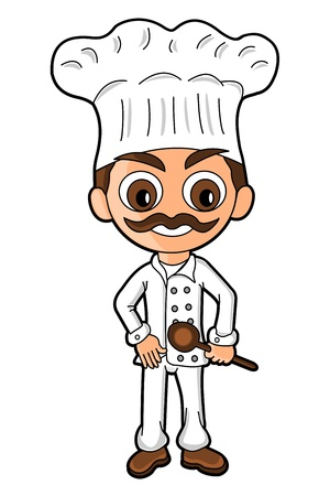 Chef drawn in SD super deformed manga style, chibi isolated on a white background Stock Vector - 21591530