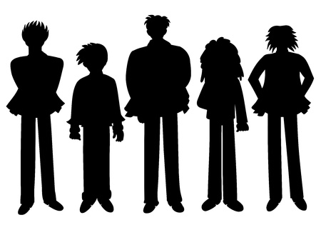 Silhouettes of diferent people drawn in manga style Illustration