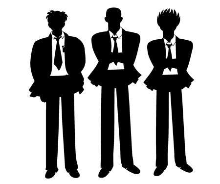 Silhoutess of bussinessmen   business team Vector