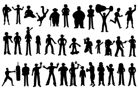 Silhouette set with various cartoon people, isolated on a white background