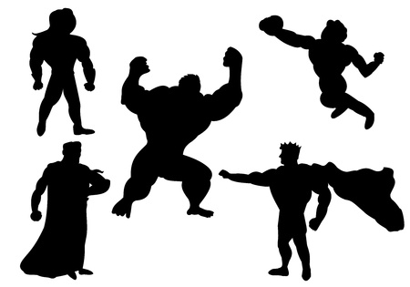 Collection of silhouettes of super heroes or super villains, isolated on a white background