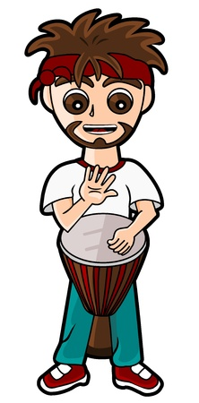 Catoon drummer percussionist playing the djembe isolated on a white background Illustration