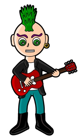 Cartoon punker playing the guitar isolated on a white background Illustration