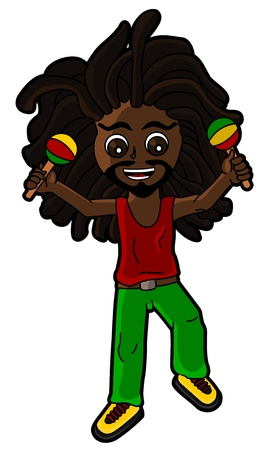 Cartoon of rasta percussionist playing the maracas isolated on a white background