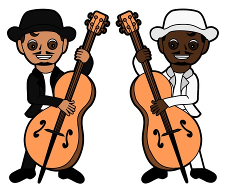 Double bass players cartoon isolated on a white background