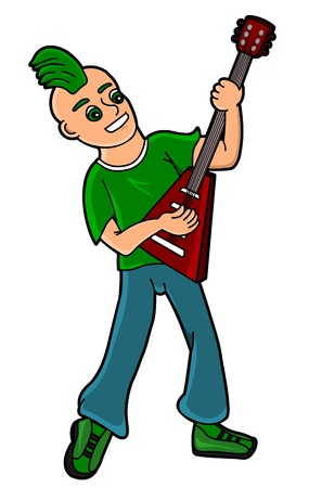Cartoon punker playing guitar isolated on a white background