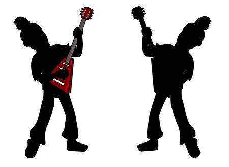 Kid guitarists silhouettes isolated on a white background