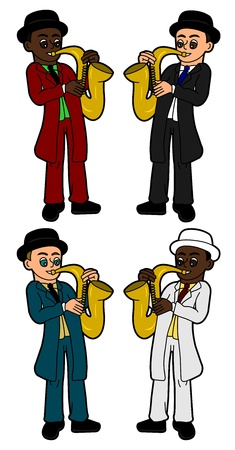 Collection of diverse cartoon saxophonists isolated on a white background
