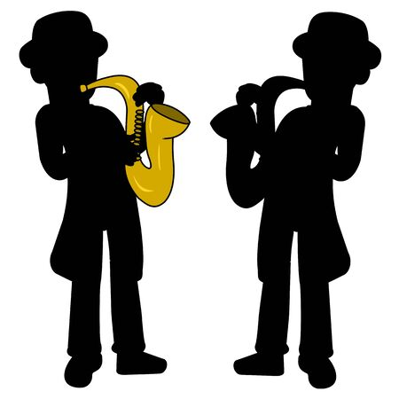 Saxophonist silhouettes isolated on a white background Vector