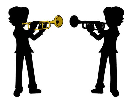 Silhouette of trumpet player isolated on a  white background