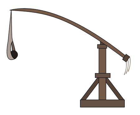Illustration of an ancient Greek and Roman siege weapon trebuchet, isolated on a white background Illustration