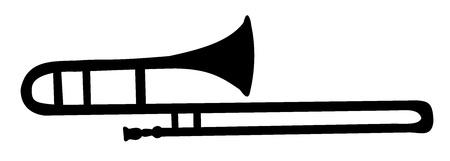 trombón: La silueta del tromb�n Vectores