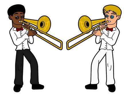 Trombonists isolated on a white background Illustration