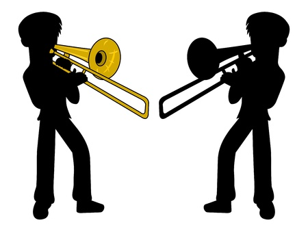 woodwind: Silhouette of trombone player isolated on a white background