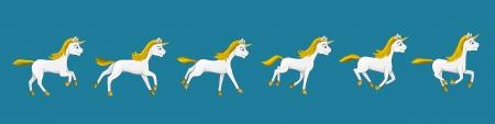 galop: Illustration d'une licorne � diff�rents stades de galop anim�, propice cr�ation d'une animation, isol� sur fond bleu Illustration