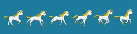 Illustration of a unicorn in different stages of animated gallop, suitable for a creation of an animation, isolated on blue background