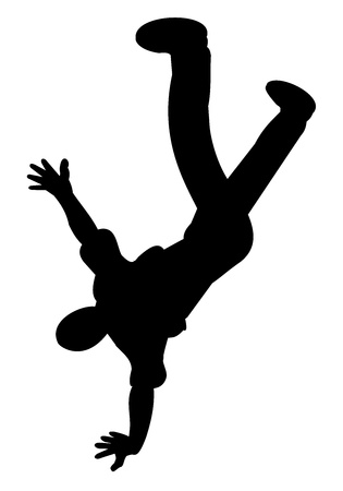 Silhouette of B-boy doing breakdance
