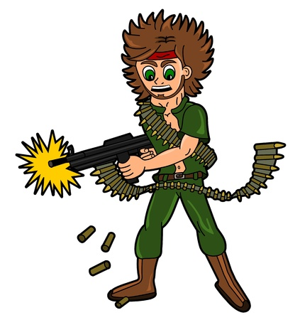 Cartoon soldier or mercenary firing from machine gun isolated on a white background