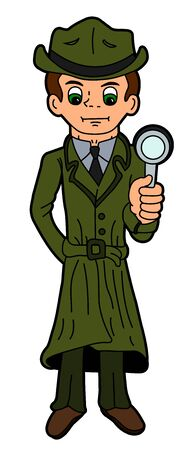 the trench: Cartoon detective holding magnifying glass Illustration