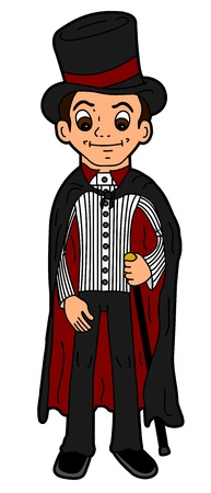 Cartoon man or wizard dressed in Victorian style clothes