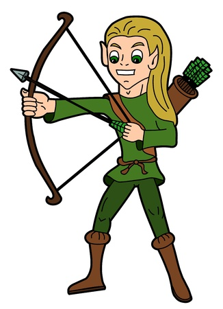 boy long hair: Fantasy cartoon - elf holding bow and arrow isolated on a white background