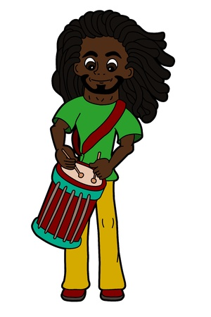 Cartoon rastafarian percussionist playing drums isolated on a white background Illustration