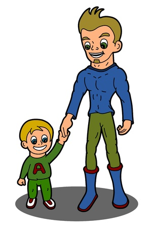 Family - Father and son cartoon isolated on a white background Illustration