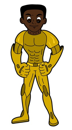 Superhero in golden armor isolated on a white background Vector