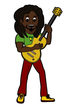 Rasta reggae singer and guitarist isolated on a white background
