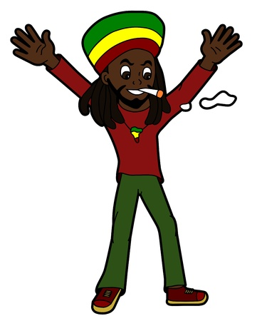 Celebrating rastafarian isolated on a white background Vector