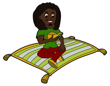 Rastafarian flying on a magic carpet and holding a lamp isolated on a white background Vector