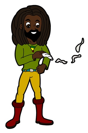 Rastafarian smoking joint isolated on a white background Stock Vector - 21599016