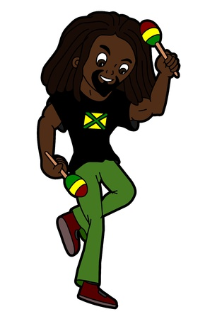 percussionist: Rastafarian percussionist playing maracas isolated on a white background Illustration